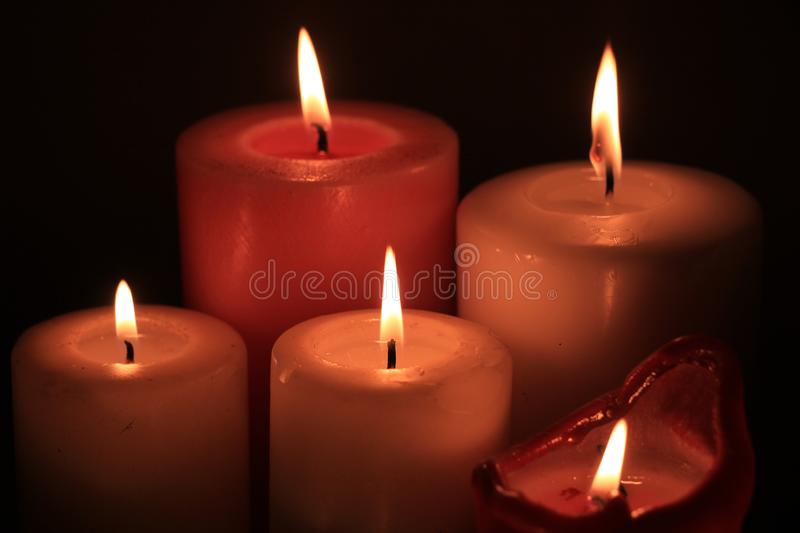 Group of burning candles royalty free stock images