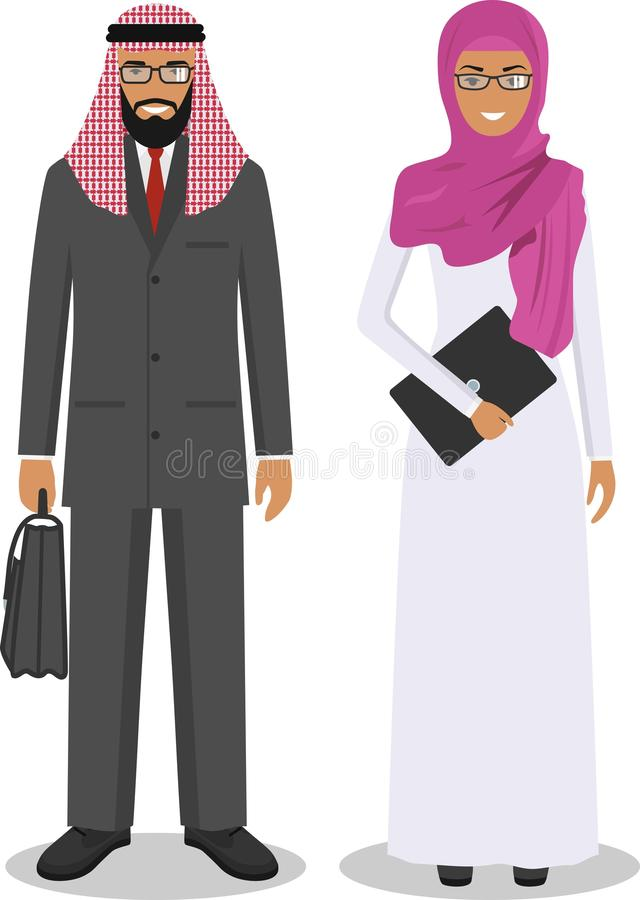 Group of business arab man and woman, working people standing together on white background in flat style. Business arabic team royalty free illustration