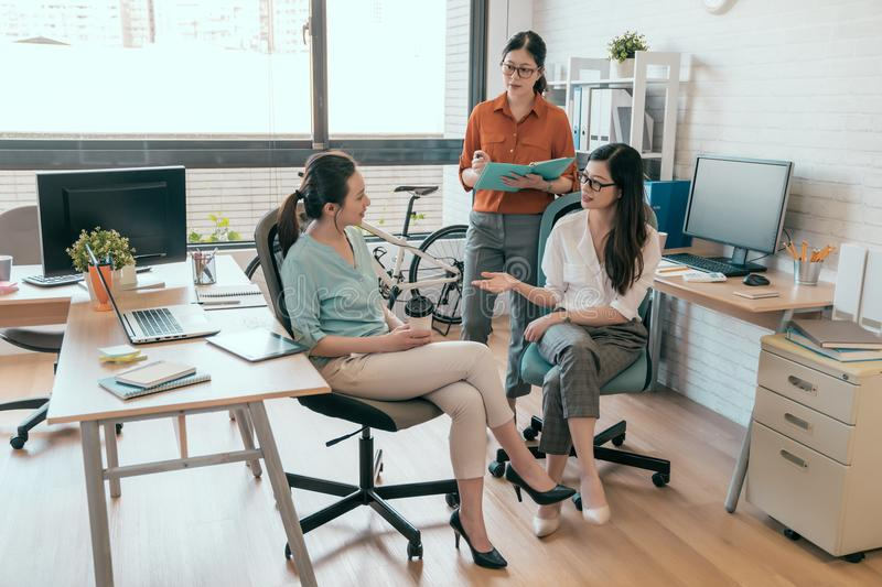 Group of business casual people are talking royalty free stock image