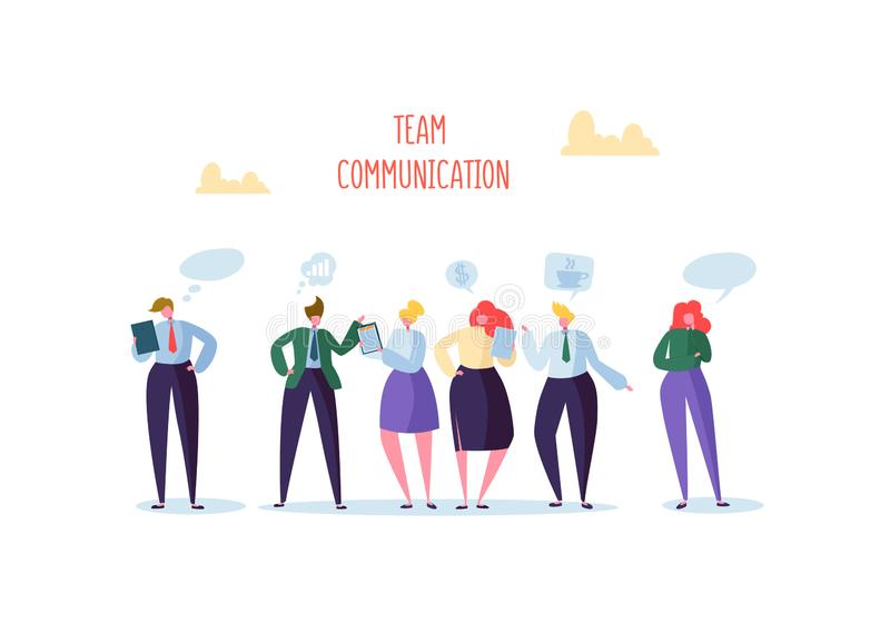 Group of Business Characters Chatting. Office People Team Communication Concept. Social Marketing Man and Woman Talking royalty free illustration