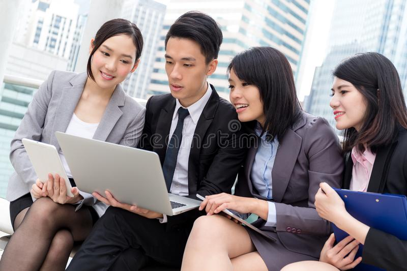 Group of business discuss on laptop computer royalty free stock photo