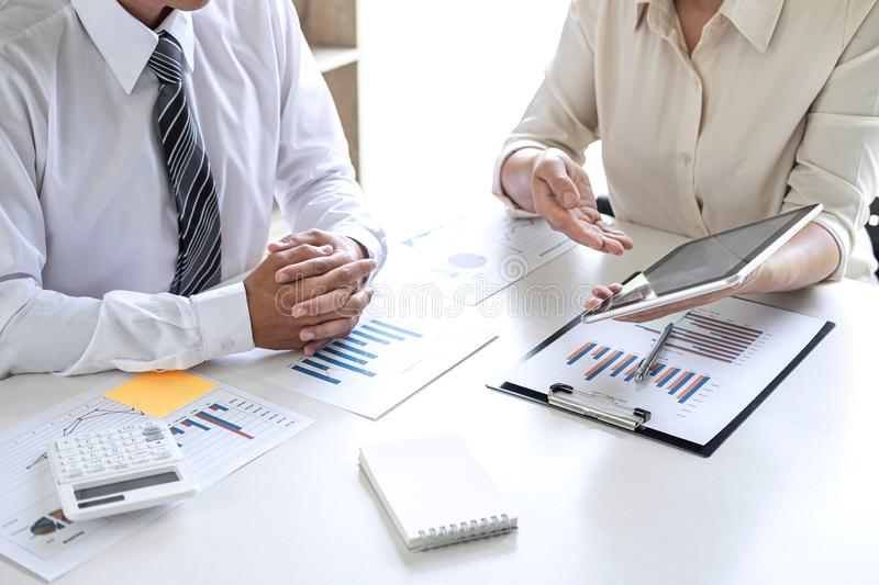 Group of Business leader team conference on meeting presentation to planning investment project working and strategy of business. Making conversation with royalty free stock image