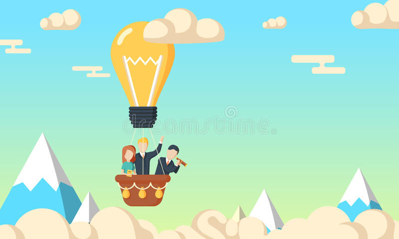 Group of business man and woman flying in the sky royalty free illustration
