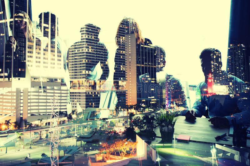 Group of business partner looking for the future. Concept of corporate and startup. double exposure. Group of business partner in office looking for the future royalty free stock photo