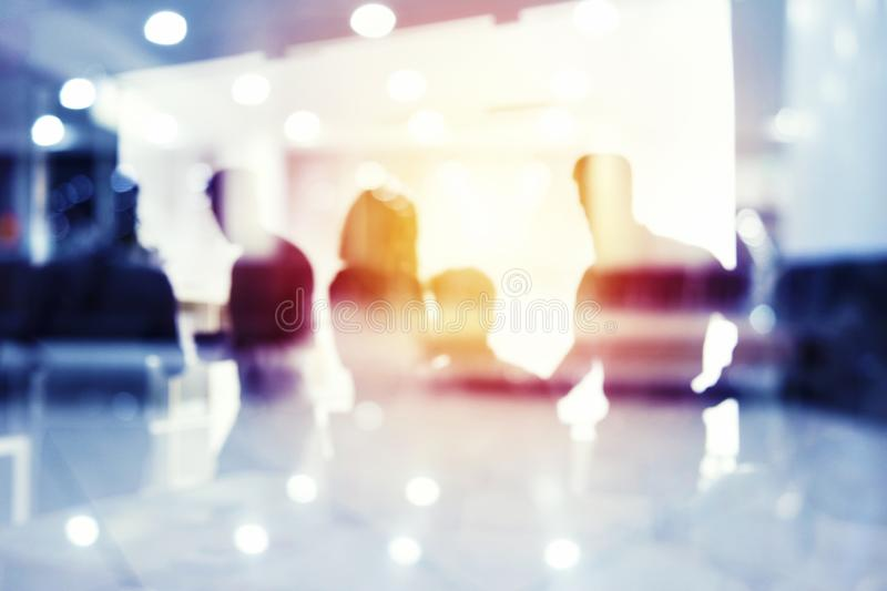 Group of business partner looking for the future. Concept of corporate and startup. Group of business partner in office looking for the future. Concept of royalty free stock image