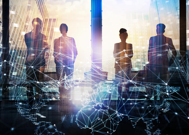 Group of business partner looking for the future with network digital effect. Group of business partner in office looking for the future with network digital royalty free stock photo