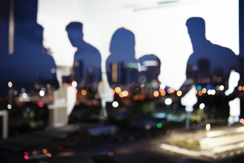 Group of business partner looking for the future. Concept of corporate and startup. Group of business partner in office looking for the future. Concept of royalty free stock images