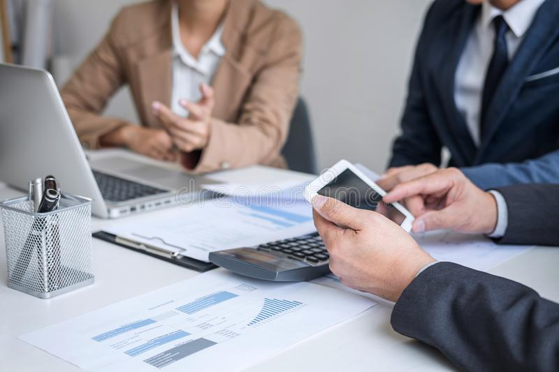 Group of Business partner professional team working together meeting are discussing and analyzing with new strategy marketing. Project investment to growth up stock photo