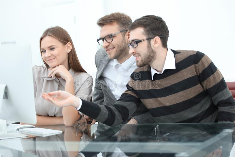 Group business partners discussing new project at meeting in office room. Photo with copy space stock photos