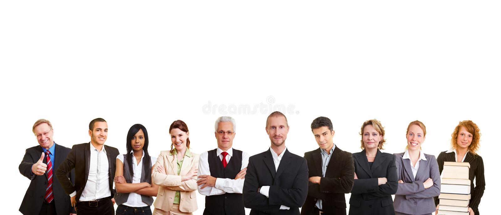 Group of business people. A big business people team in a row royalty free stock photo