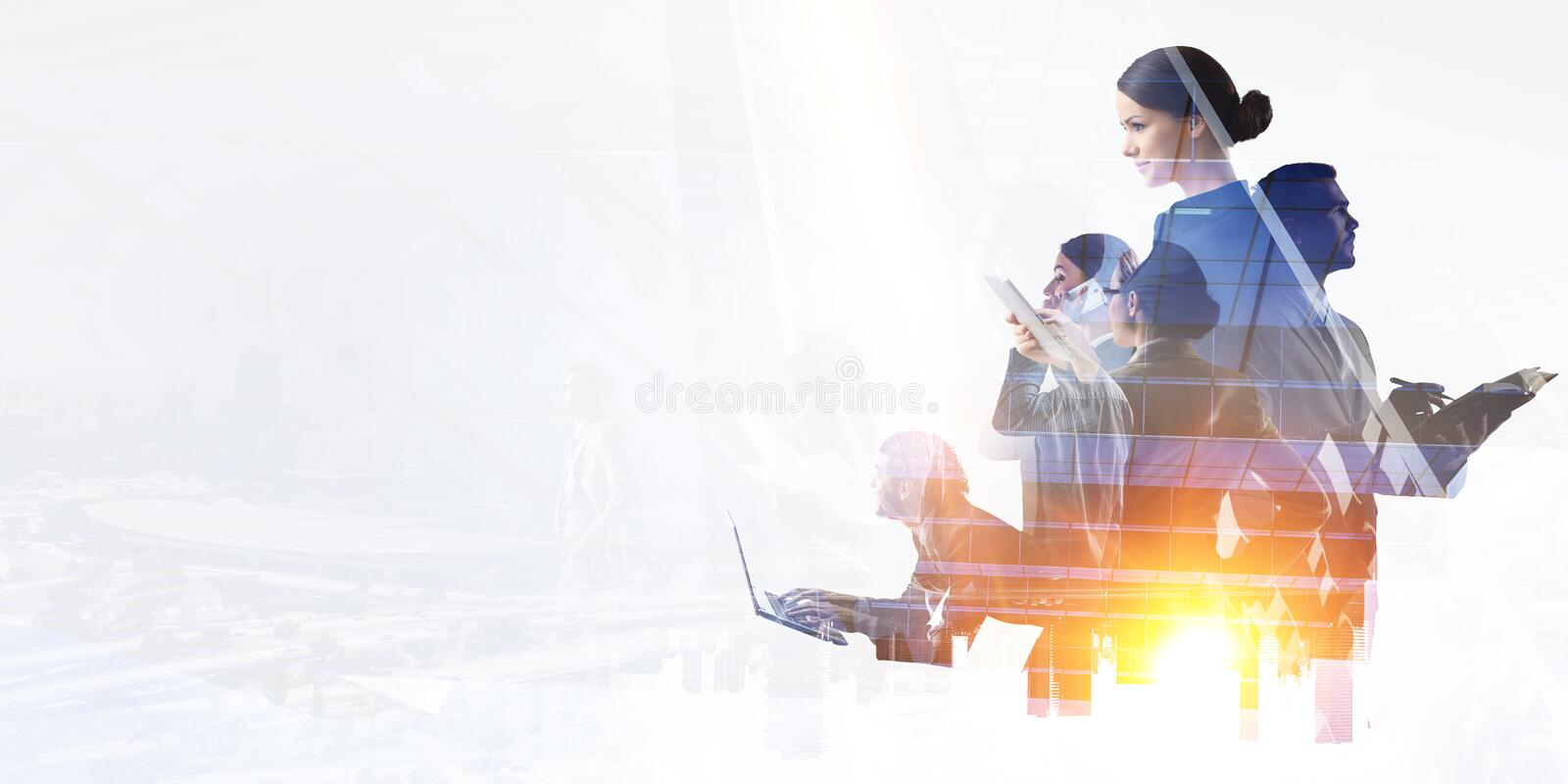 Business team concept. Mixed media royalty free stock photography