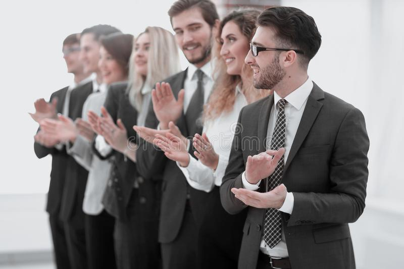 Group of business people applauding isolated. Success concept royalty free stock photo