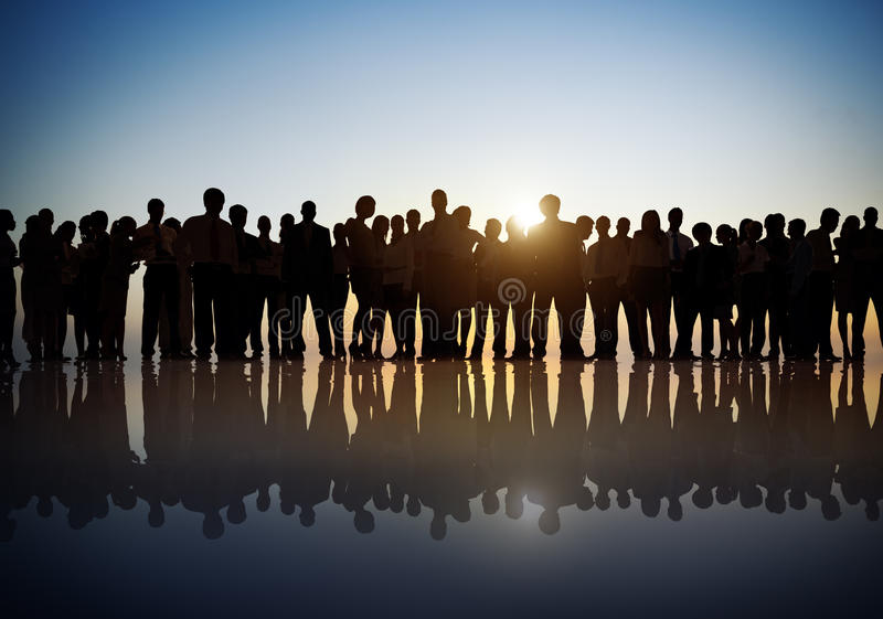 Group of Business People in Back Lit royalty free stock image