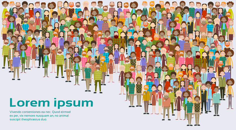 Group of Business People Big Crowd Businesspeople Mix Ethnic Diverse royalty free illustration
