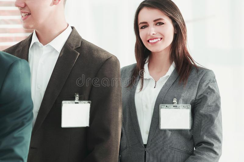 Group of business people with blank badges royalty free stock photo
