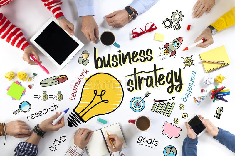 Group of Business People with Business Strategy Concept royalty free stock image
