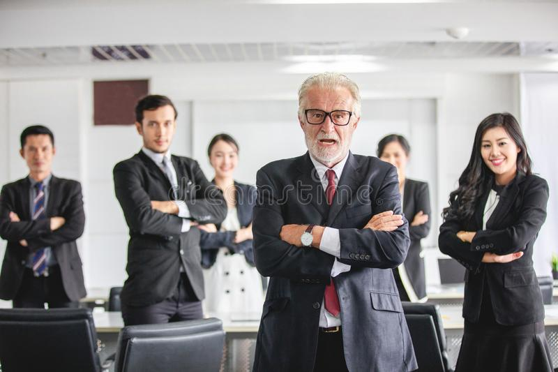 Group of business people with businessman leader celebrating success Achievement and smiling.  royalty free stock photography