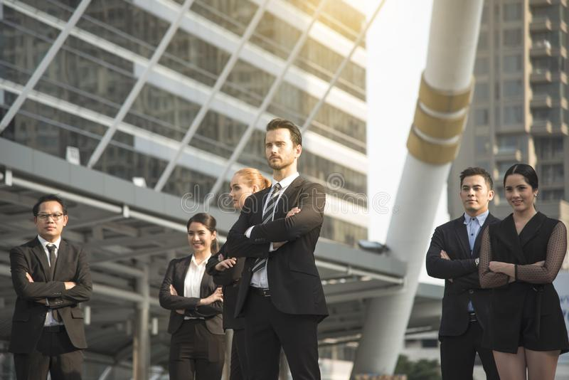 group of business people with businessman for leadership. concept handsome with confident. royalty free stock image