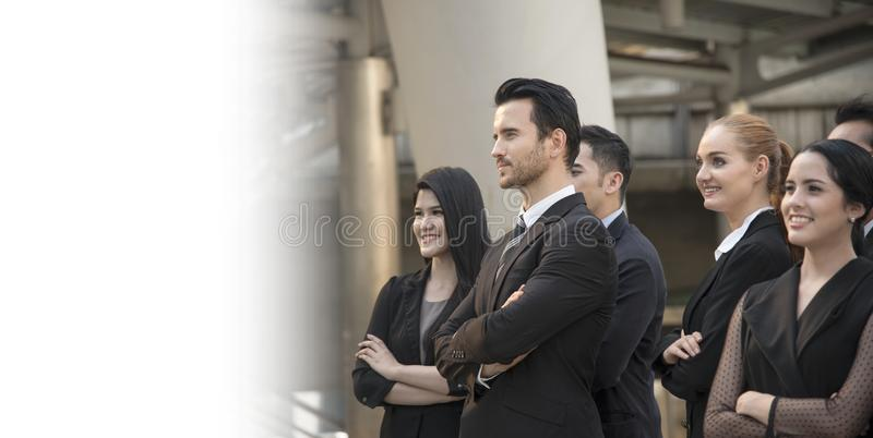 Group of business people with businessman for leadership. stock photo