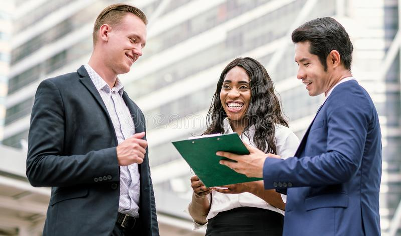 Group of business people.Businessman meeting talking and sharing their ideas in city stock photo
