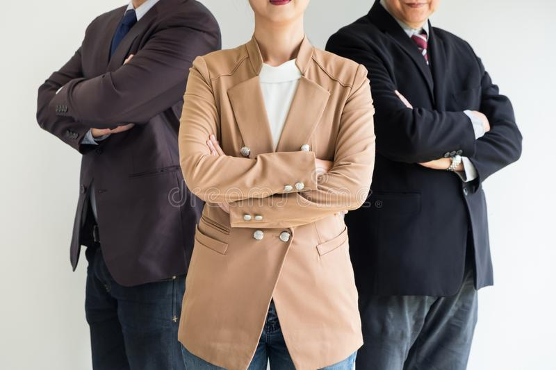 Group of business people with businesswomen leader standing with royalty free stock image