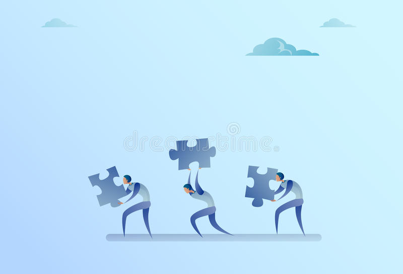 Group Of Business People Carry Puzzle Parts Teamwork Cooperation Concept. Flat Vector Illustration royalty free illustration