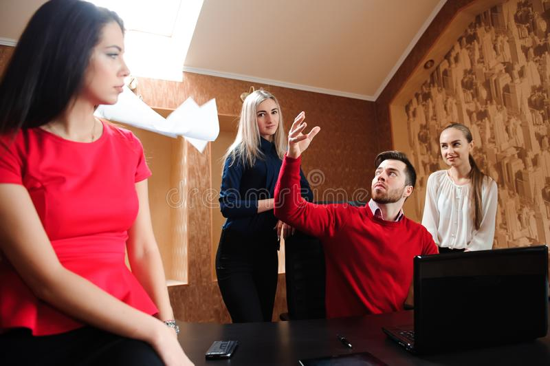 Group of business people celebrating by throwing their business stock photos