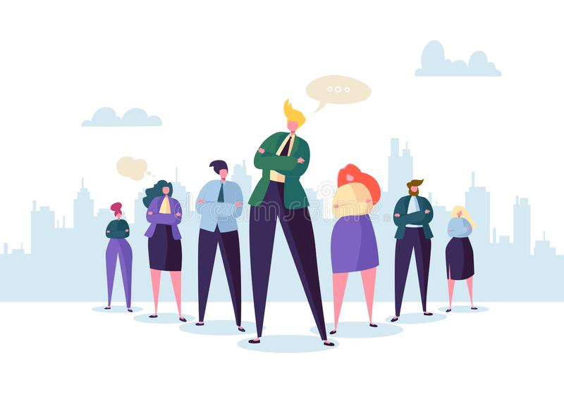 Group of Business People Characters with Leader. Teamwork and Leadership Concept. Successful Businessman. Stand Out in Front of Flat People. Vector illustration royalty free illustration