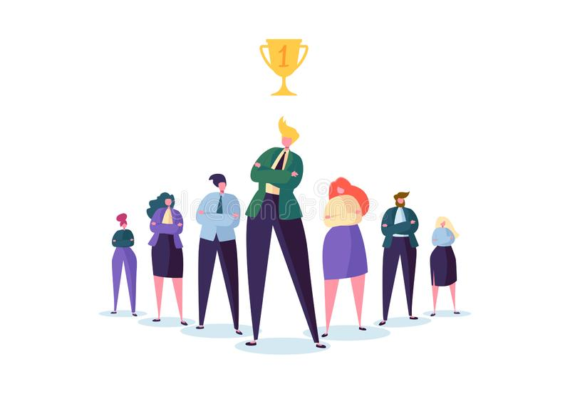 Group of Business People Characters with Leader. Teamwork and Leadership Concept. Successful Businessman. Stand Out in Front of Flat People. Vector illustration stock illustration