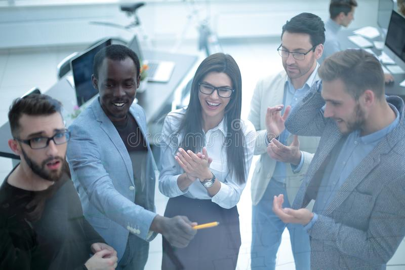 Group of business people clapping hands. stock photos