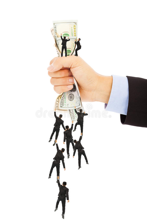 Group of business people climbing the us dollar currency royalty free stock images