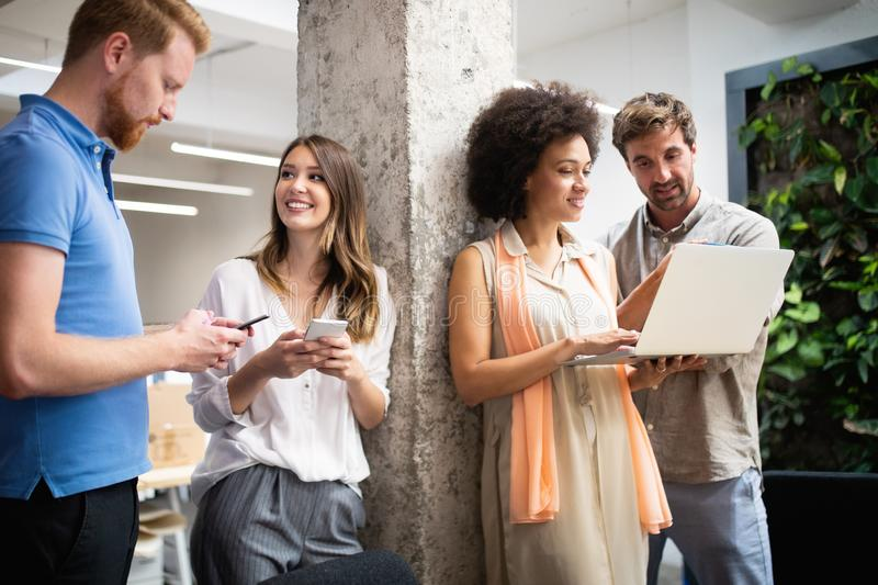 Group of business people collaborating on project in office stock photos