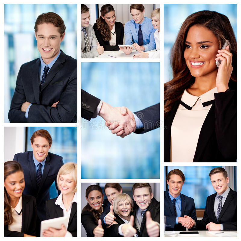 Group of business people, collage. Successful team of business people, collage stock photos