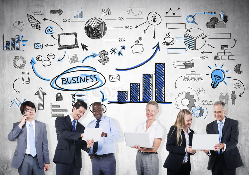 Group of Business People in Communications royalty free stock images
