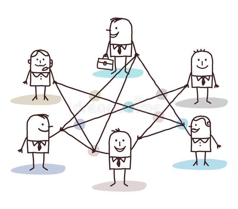 Group of business people connected by lines vector illustration