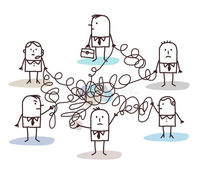 Group of business people connected by messy lines stock illustration