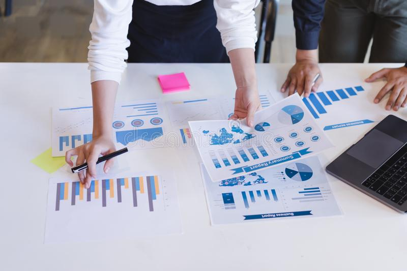 Group of business people discussing business reports.board of directors planning project, Business Analysis and Strategy concept stock image