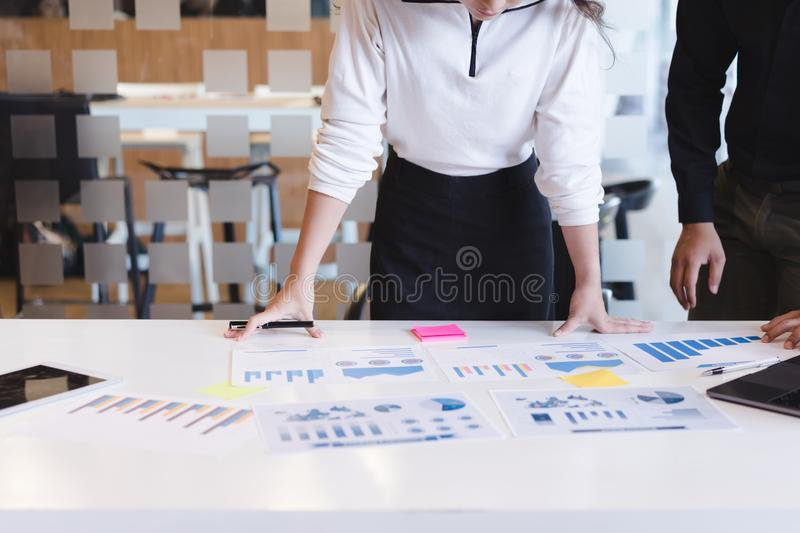 Group of business people discussing business reports.board of directors planning project, Business Analysis and Strategy concept royalty free stock images