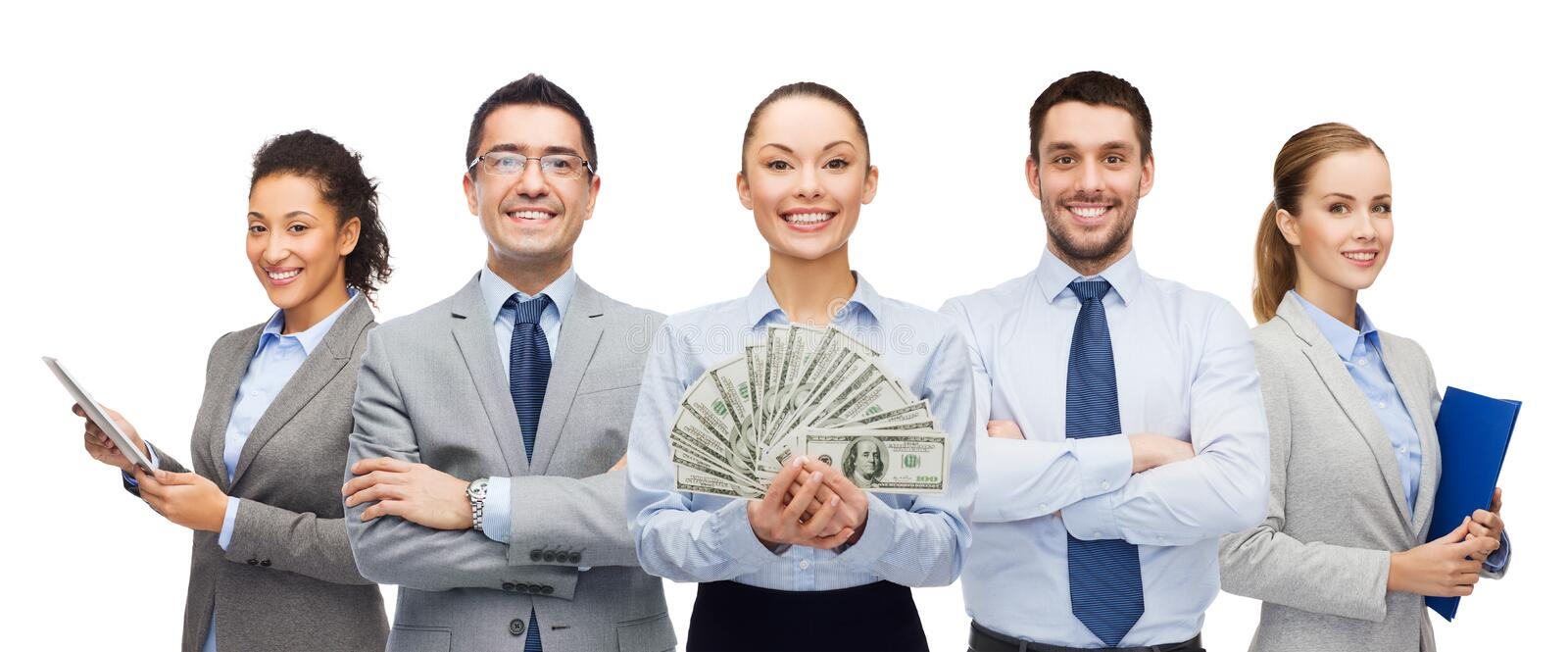 Group of business people with dollar cash money stock photo