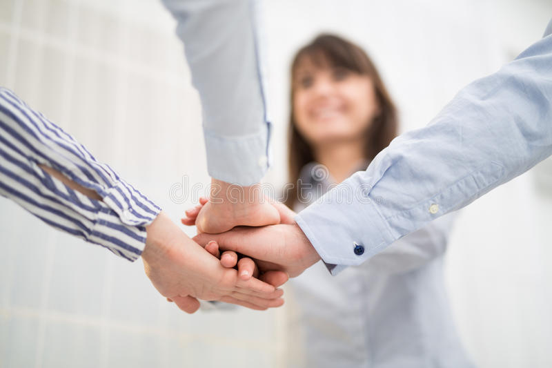 Group of business people enjoying and celebrating the success. royalty free stock photography