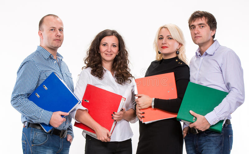 Group of business people. With folders on a white background stock photos