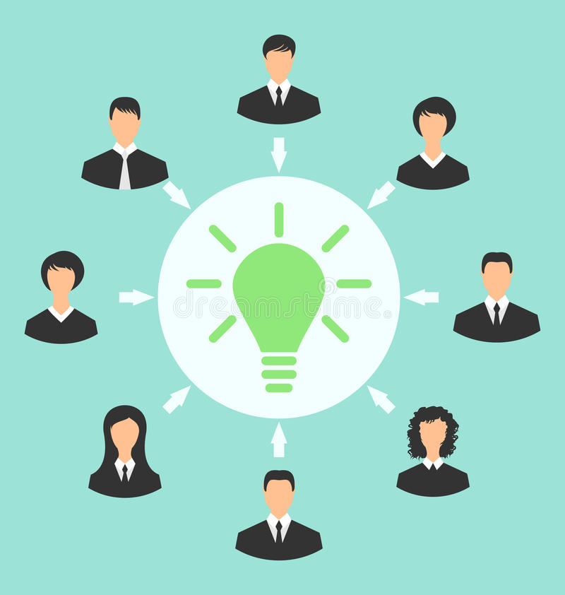 Group of business people gather together, process of generating. Illustration group of business people gather together, process of generating idea - vector royalty free illustration