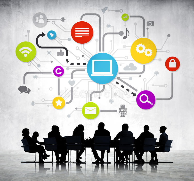 Group Of Business People with Global Business. Group Of Business People Working And Global Networking Themed Images Above stock photos