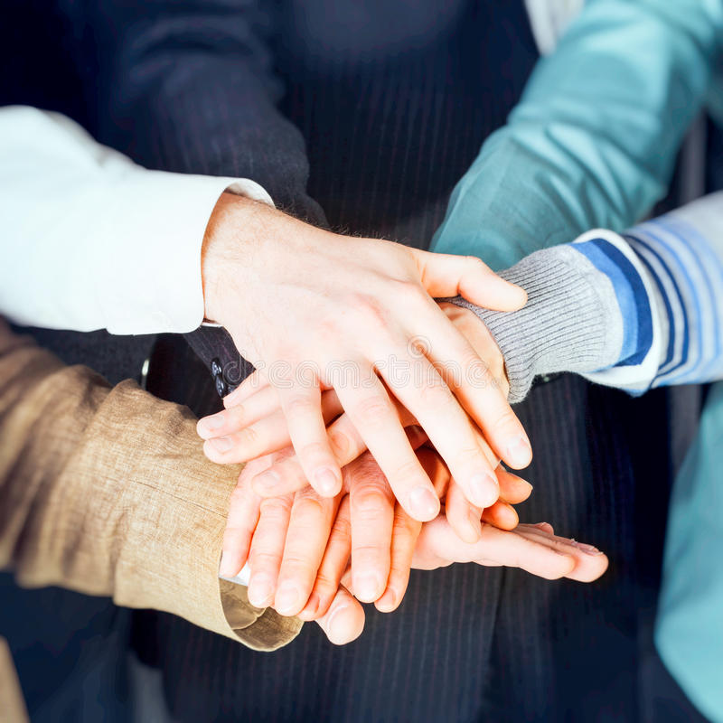 Group of business people with hands stock photos