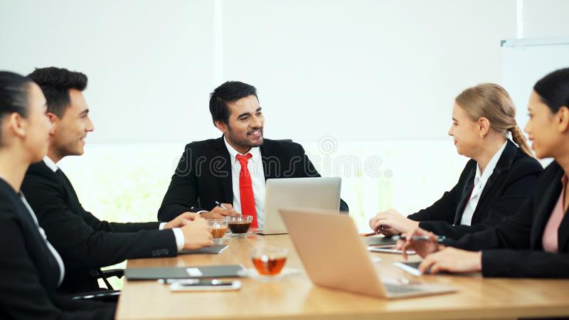 Group of business people having discussion at meeting room royalty free stock photos