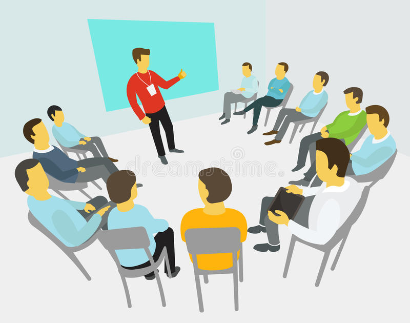 Group of business people having a meeting royalty free illustration