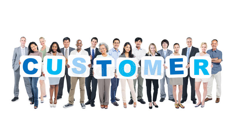 Group Of Business People Holding Placards Forming Customer. Group Of Multiethnic Group Of Business People Holding Placards Forming Customer stock photo