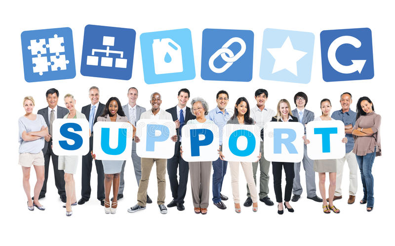 Group Of Business People Holding Support. Group Of Multi-Ethnic Group Of Business People Holding Placards Forming Support And Related Symbols Above royalty free stock photos