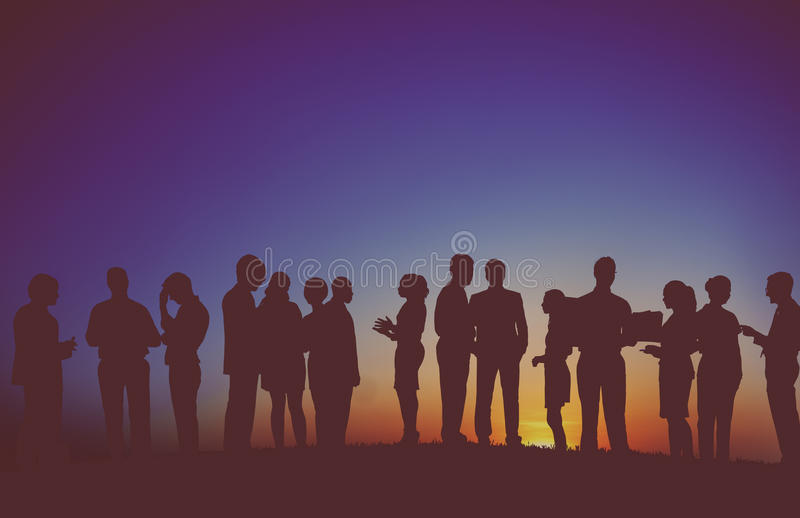 Group Business People Interaction Silhouette Concept royalty free illustration