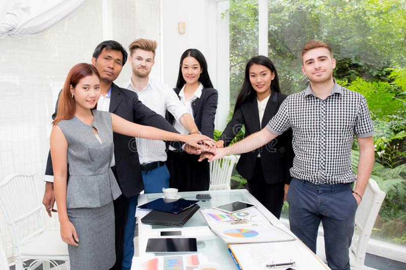 Group of business people join the hand or group teamwork Concept. royalty free stock photography